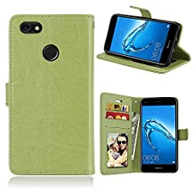 Huawei Y6 Pro 2017 / Enjoy 7 Case, SATURCASE Luxury Smooth PU Leather Flip Magnet Wallet Stand Card Slots Protective Case Cover for Huawei Y6 Pro 2017 / Enjoy 7 (Green)