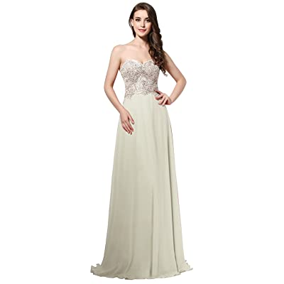 Belle House Women's See Through Neck Long Ball Gown Chiffon Lace Applique Prom Dress at Women's Clothing store