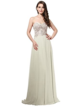 Sarahbridal Womens Formal Prom Evening Dresses Long 2018 Sequin Applique Bridalmaid Gowns Ivory US2