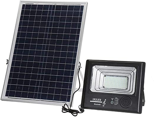 Luz De LED fluorescente 192 Proyector LED brillante con energía solar regulable con mando a distancia for la pared del jardín al aire libre Para Jardín Trasero (Color : Black ,