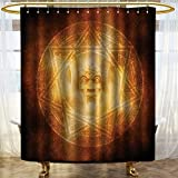 PRUNUSHOME Horror House Decor Shower Curtain Demon Trap Symbol Logo Ceremony Creepy Ritual Fantasy Paranormal Design Fabric Bathroom Decor Set with Hooks Orange/W72 x L92