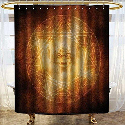 NALAHOMEQQ Horror House Decor Shower Curtain Demon Trap Symbol Logo Ceremony Creepy Ritual Fantasy Paranormal Design Fabric Bathroom Decor Set with Hooks Orange(72''x72'') by NALAHOMEQQ