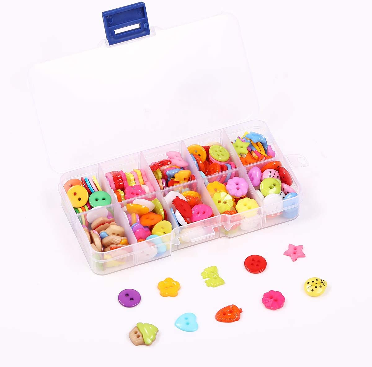 fatti a mano 240 bottoni da cucito assortiti con scatola di plastica per scrapbooking cucito e artigianato