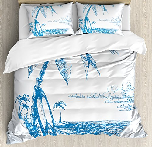 Ambesonne Surf Duvet Cover Set Queen Size, Contemporary Sketch Illustration Hawaiian Beach with Surfboard Palms and Ocean Water, Decorative 3 Piece Bedding Set with 2 Pillow Shams, Blue and White