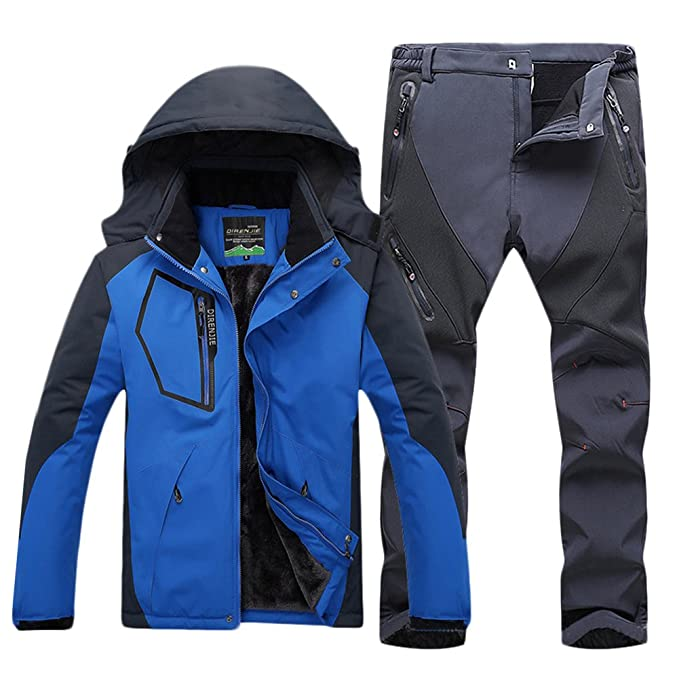 Qitun Hombre de Trekking Impermeable Deportivos Transpirable Pantalones Chaqueta de Esquí Impermeable Chaqueta de Nieve Excursionismo Conjunto CaiAzul