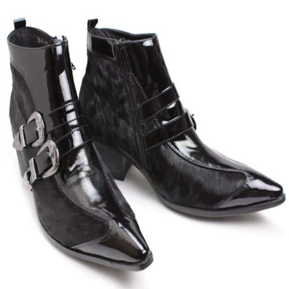 Mens Leather Buckles Fur Stitching Buckles Pointed Toe Ankle Boots Black Zipper Shoes (US 10.5)
