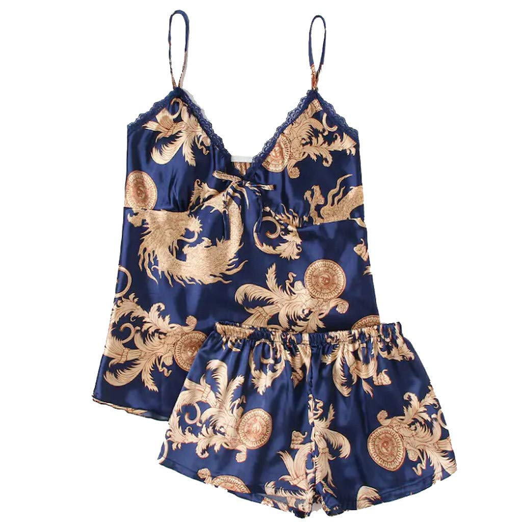 Moxiu New Women Summer Sexy Sleepwear Sleeveless Printed Nightwear Satin Lingerie Set Underwear Two Piece (L, Blue)