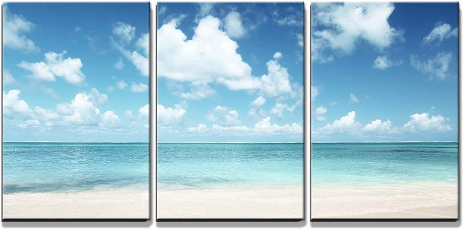 Wall26 3 Piece Canvas Wall Art Sand Of Beach Caribbean Sea Modern Home Art Stretched And Framed Ready To Hang 16 X24 X3 Panels Posters Prints