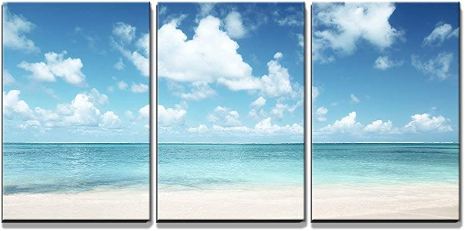 Wall26 3 Piece Canvas Wall Art Sand Of Beach Caribbean Sea Modern Home Art Stretched And Framed Ready To Hang 16 X24 X3 Panels Posters Prints Amazon Com