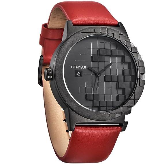 benyar impermeable creativo cuadrícula diseño relojes correa de piel Business Casual reloj de pulsera para hombres mujeres: Amazon.es: Relojes