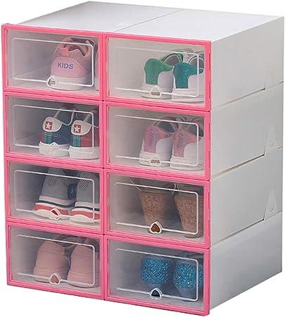 Meele 8 x Cajas de Zapatos Plástico Almacenamiento de Caja Guardar Zapatos Calcetines Juguetes Cinturones para la Organización de Hogar Oficina Plegable,Rosado,8pack: Amazon.es: Hogar