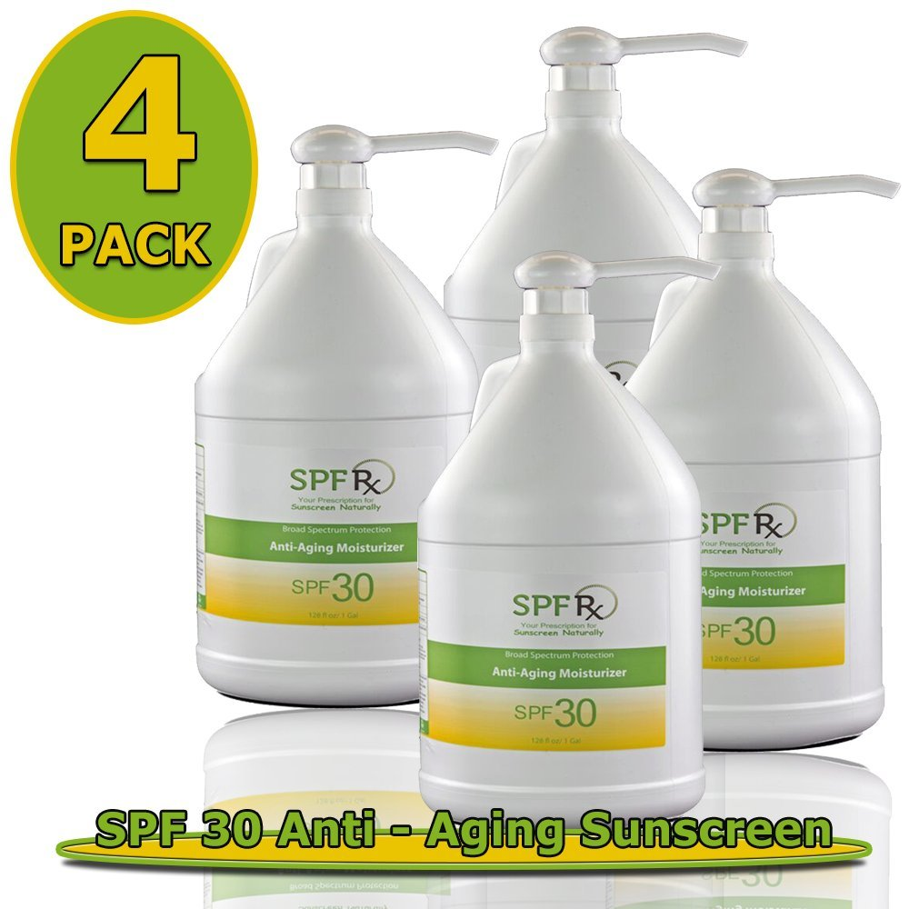 SPF 30 Anti-aging Sunscreen - Safe for Different Skin Types – Oil Free Anti-Aging Sunscreen- Moisturizing Cream - Includes Vitamin E- Prevention of Wrinkles, Photo-aging (1 Gallon/128 Oz- 4 Pack)
