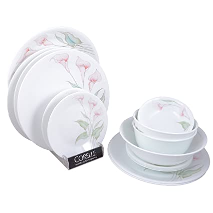 Corelle Asia LillyVille Dinner Set, 21-Pieces, Multicolor Dinnerware Sets at amazon