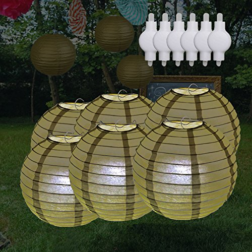 LOGUIDE Gold Paper Lanterns Lights For Weddings Birthday Parties Baby Showers,Pack of 6