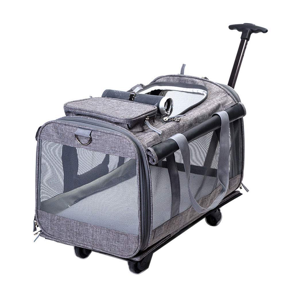 D Pet Bag Pet Trolley Bag Linen Fabric Autumn and Winter Travel Aviation Standard Dog Carrier Small and Medium Cat Dog 19.6x12x12.2 Inches (bluee)