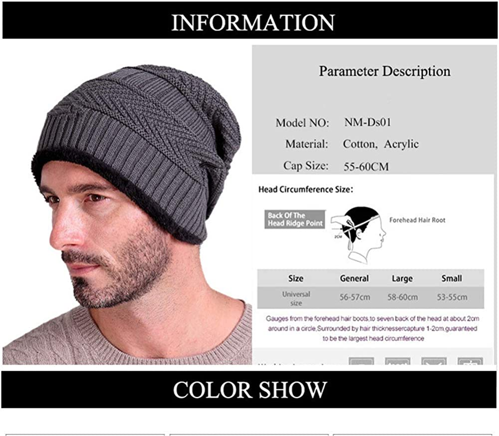 cqkj New Mens Winter Fall hat Fashion Knitted Black ski Hats Thick Warm hat Cap Bonnet Skullies Beanie Soft Knitted Beanies Cotton Yellow,Adult