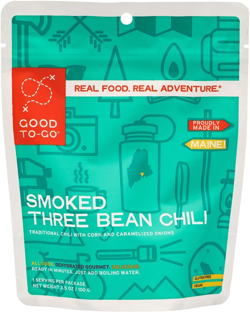 GOOD TO-GO Smoked Three Bean Chili | Dehydrated Backpacking and Camping Food | Lightweight | Easy to Prepare
