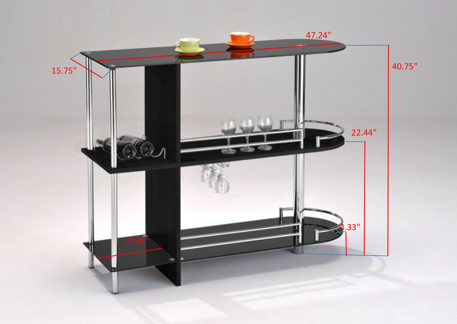 Kings Brand Furniture Bar Table with Two Tempered Glass Shelves