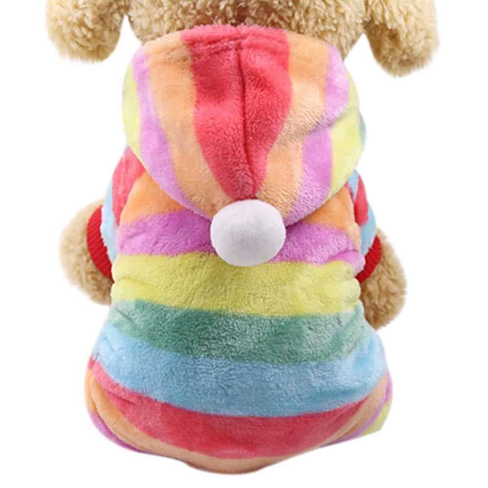 Alixyz Pet Clothes Cute Colorful Hooded Coat Dog Cat Dress (L, Multicolor)
