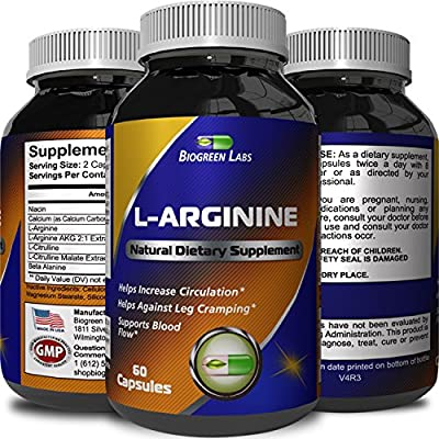 Purest L Arginine Supplement on the Market 60 Capsules – Boost Nitric Oxide Levels, Endurance & Full Time Energy Enhancement – Potent and Effective for Men, Women and Teens – Best L-Arginine