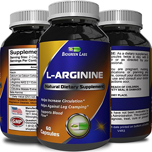 Purest L Arginine Supplement on the Market 60 Capsules – Boost Nitric Oxide Levels, Endurance & Full Time Energy Enhancement – Potent and Effective for Men, Women and Teens – Best L Arginine