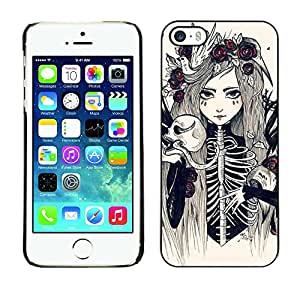 LECELL--Funda protectora / Cubierta / Piel For Apple iPhone 5 / 5S -- Skeleton Girl Bride Woman Floral --