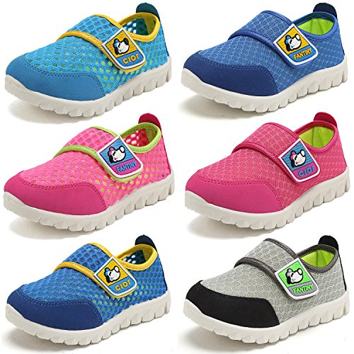 CIOR Kid's Mesh Lightweight Sneakers Baby Breathable Slip-on For Boy and Girl's Running Beach Shoes(Toddler/Little Kid),Blue01,29 1