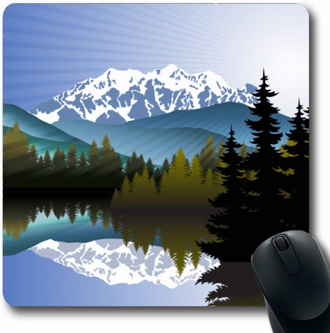 Alfombrilla para computadora Computadora portátil Lago Árbol Azul ...