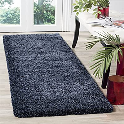 "Safavieh Santa Monica Shag Collection SGN725-7070 Navy Plush Runner (2'3"" x 7') - The power loomed construction adds durability to this rug, ensuring it will be a favorite for a long time Each rug is made of rich, soft, high-density, plush polyester pile The modern style of this rug will give your room a contemporary accent - runner-rugs, entryway-furniture-decor, entryway-laundry-room - 61TA641RNmL. SS400  -"
