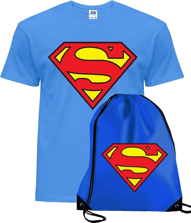 Superman - Camiseta para niños y adultos, superhéroes y bolsa de gimnasio con cordón: Amazon.es: Ropa y accesorios