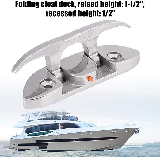 Marine 12 cm Flip Up Attache de Taquet de Cale de Bateau Taquet damarrage Escamotable pour Bateau pour Bateau Rabattable pour Bateau Kayak Attache de Taquet de Cale de Bateau