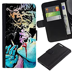 A-type (Ink Art Smoking Lady Green Blue) Colorida Impresión Funda Cuero Monedero Caja Bolsa Cubierta Caja Piel Card Slots Para Apple (5.5 inches!!!) iPhone 6+ Plus / 6S+ Plus