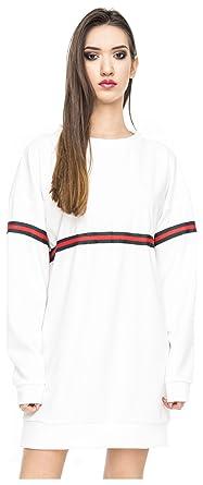 11fe090487a6 Oversize Pullover Sweatshirt Damen Sweater Pulli Hipster Longshirt  Oversized Long Front Stripes Weiß M L