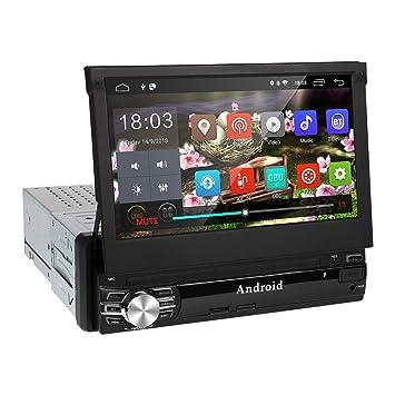 Radio 1 din Android 6.0 GPS Navegador, Amkle Autoradio para Coche con 7 Pantalla táctil 1080p, radio estéreo RDS/FM/AM, reproductor multimedia ...