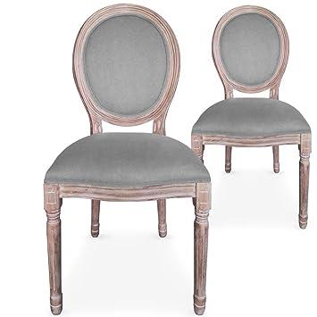Menzzo Lot De 2 Chaises Medaillon Louis XVI Tissu Gris