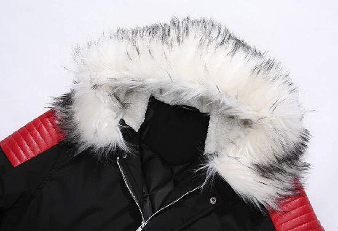 YUNY Mens Thicken with Faux Trimmed Hood Mid Long Parka Anorak AS1 S