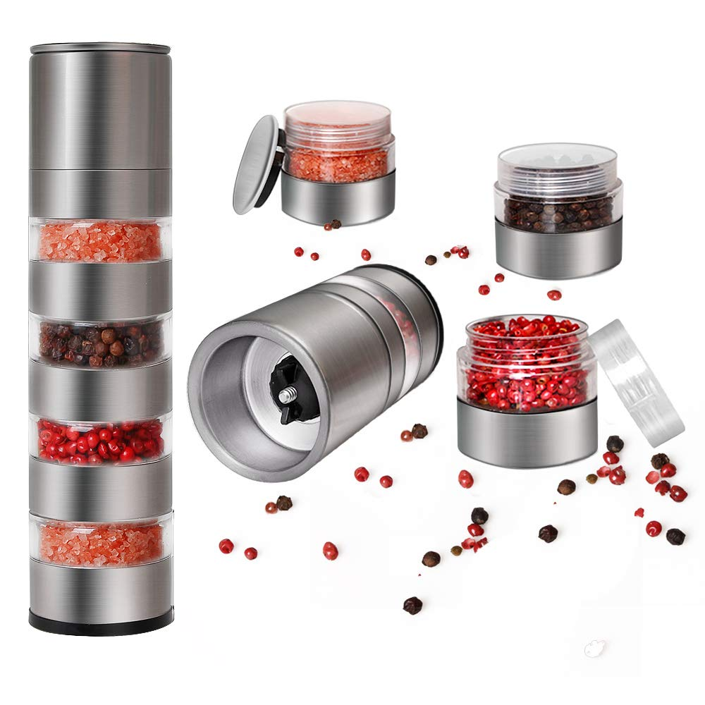 DOXHAUS Salt and Pepper Grinder Space Saving Camping Caravan Salt Pepper Spice Mill Multi Layer with Adjustable Ceramic Coarseness