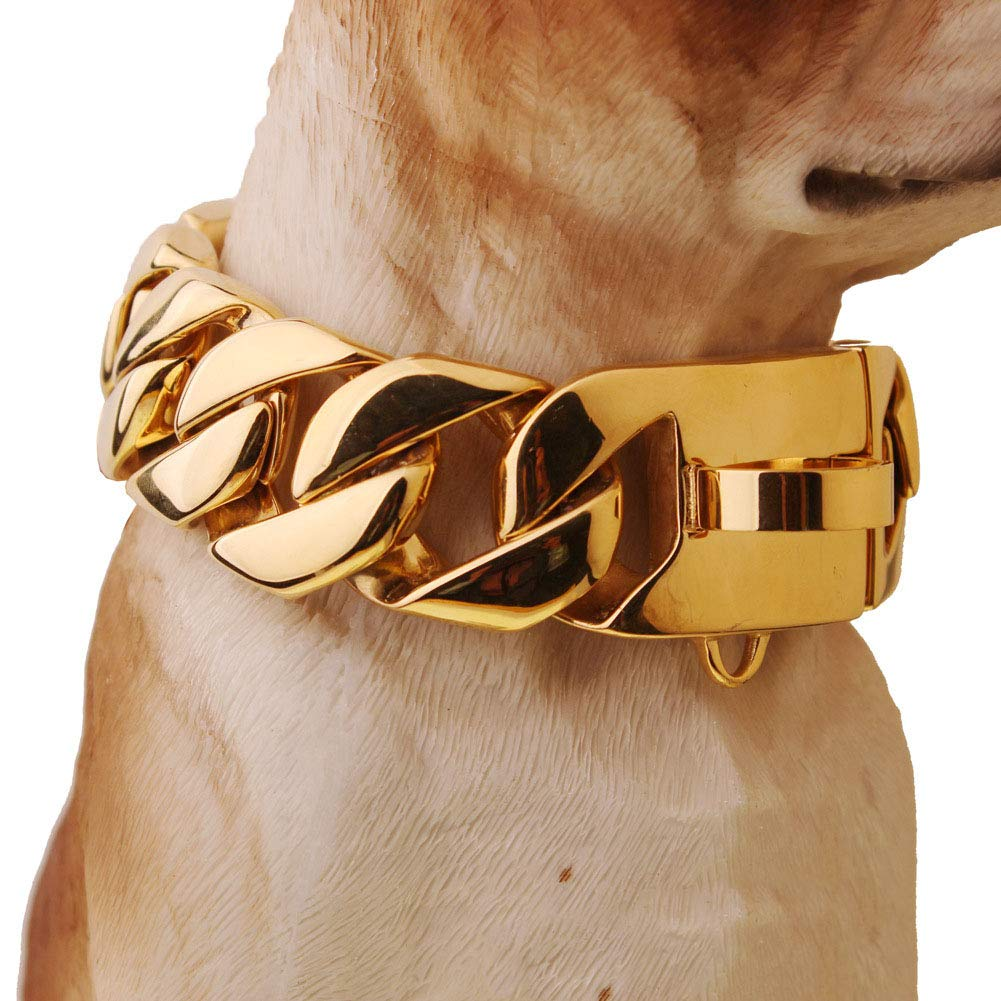 MUJING 32 mm Wide Hip Hop Gold Tone Cut Curb Cuban Link 316L Stainless Steel Dog Choke Chain Collar 40-70CM,F by MUJING (Image #6)