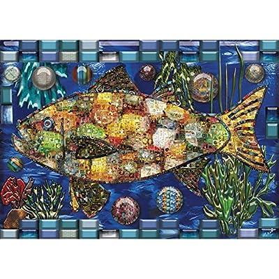JaCaRou Puzzles Mosaic Fish 1000 Pieces Jigsaw Puzzle: Toys & Games