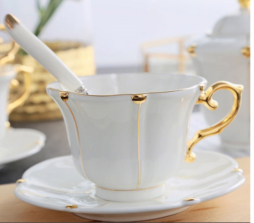 PLLP European Afternoon Tea Ceramic Household Coffee Cup with Saucer Spoon Cup Holder Gift Set Simple Bone China Mark Water Cup,C,13.56.510.5CM