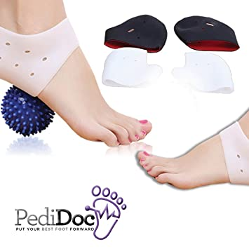 Plantar Fasciitis Heel Sleeves and Plantar Massage Ball - Quick Pain Relief - Shock Absorbing Gel