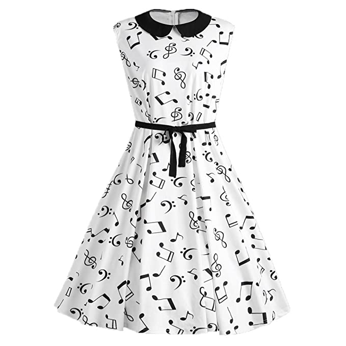 QinMM Frauen Sleeveless Sommer Plus Size Musical Notes Printed ...