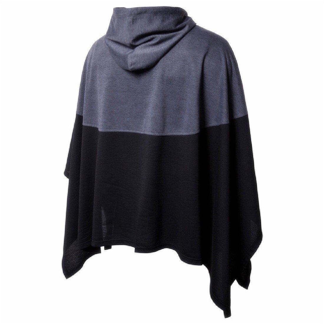 Nicelly Mens Outwear Casual Color Splice Cloak Sweatshirt Hoodies Jackets Dark Grey M