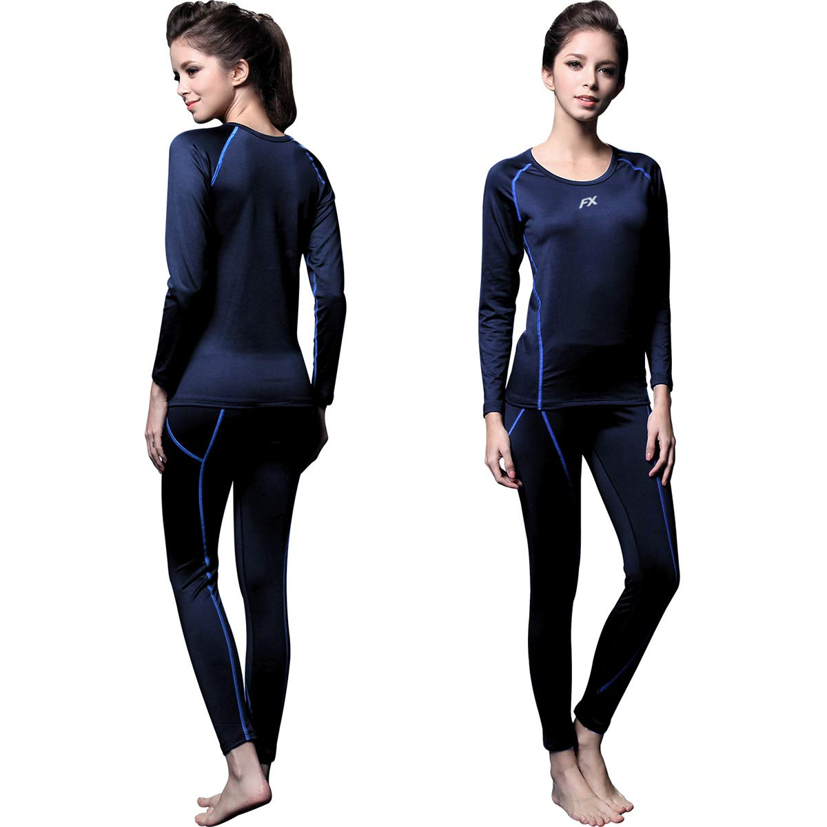 FITEXTREME Womens MAXHEAT Fleece Long Johns Thermal Underwear Set Navy S