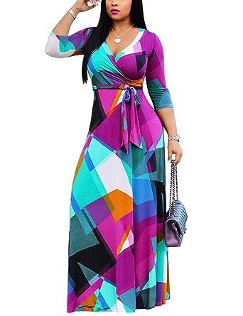 53e37ea2943d Women's Floral Print Wrap V Neck 3/4 Sleeve Tie Waist Maxi Long Swing Dress