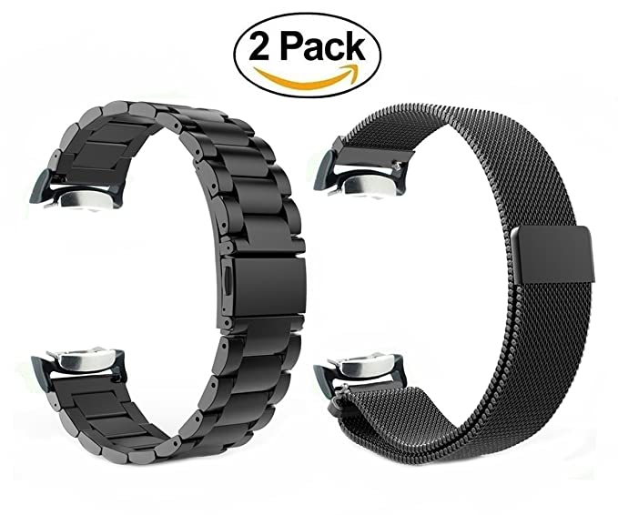 Gear S2 Watch Bands,ViCRiOR 2Pack Stainless Steel Metal Band + Magnetic Milanese Loop Mesh Stainless Steel Replacement Bracelet Strap with Adapter for ...
