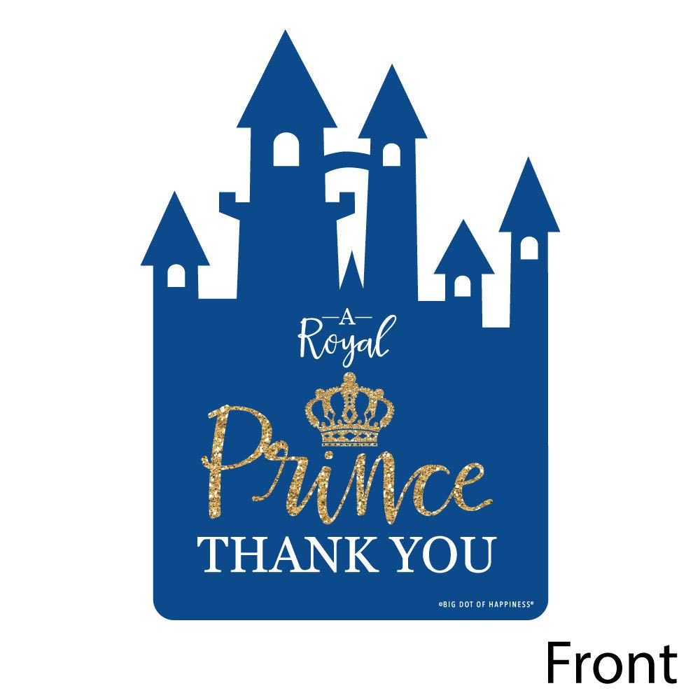Baby Shower or Birthday Party Thank You Note Cards with Envelopes Royal Prince Charming Set of 12 Shaped Thank You Cards