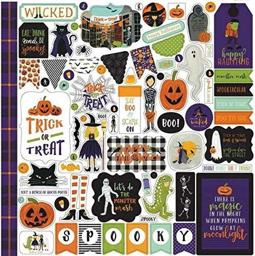 Echo Park - Hocus Pocus Halloween 12x12 Scrapbooking Kit - Item HO157016TM - Copyright 2018 - Features Pumpkins, Ghosts, Spiders, Skeletons, Candy, ...