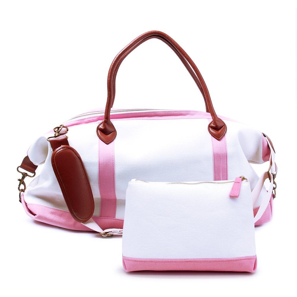 Canvas Weekender Travel Bag (Pink)