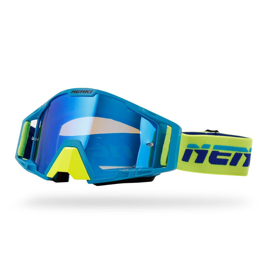 NENKI Occhiali da motocross NK-1025 con lente di iridio per MX ATV Occhiali da moto fuoristrada di sporcizia per uomini e donne (ROSSO GIALLO)